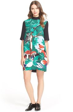 Free shipping and returns on kate spade new york 'fabled forest' mock neck shift dress at Nordstrom.com. A whimsical woodland scene unfolds over the front of a playful mock-neck shift framed with a color-blocked collar, sleeves and back.