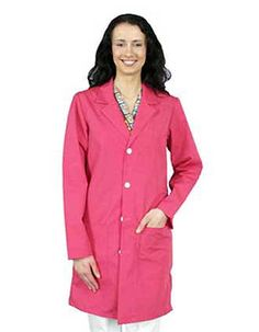 This is a fashionable 40-inch unisex lab coat is featured in two shades of colors: pink and shocking pink.