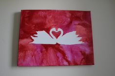 $35 - This swan heart picture will make the perfect wedding or anniversary gift! Click Above for Details! Love Birds Melted Crayon Art Swans Red and Pink by LittleBettsBoutique
