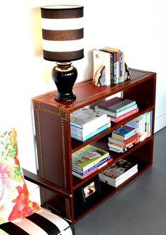 upholstery basics: leather bookshelf