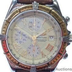 Massive 18k Gold SS D13355 Breitling Chronograph Chronometer Watch Textured Dial #Breitling #Sport