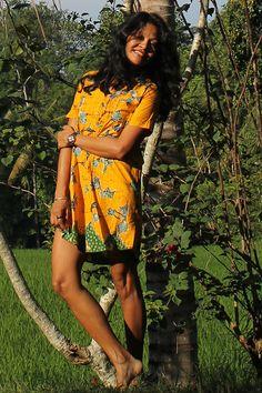 Yellow Batik, Shirt dress, casual batik, Batik Madura, lunch date