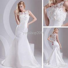 Wholesale Elegant Scoop Applique Venice Lace Mermaid Chapel Train Lustrous Wedding Dresses xyy05-033, Free shipping, $89.6-200.48/Piece   DHgate