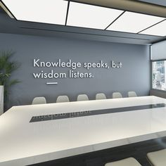 Entrepreneur Inspiration Discover Wisdom Listens Wall Art Office Decor Office Wall Art Meeting Room Office Art Wall Decor Office Quotes Quotes - SKU:KSWL Read information on wall decor Corporate Office Design, Office Interior Design, Office Interiors, Office Designs, Office Wall Design, Business Office Decor, Modern Interior, Corporate Offices, Interior Design Quotes