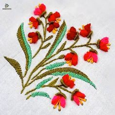 Hand Embroidery Flower Designs, Diy Embroidery Patterns, Etsy Embroidery, Hand Embroidery Videos, Embroidery Stitches Tutorial, Ribbon Embroidery, Garden Embroidery, Crewel Embroidery Kits, Embroidery Bracelets