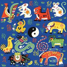Arte : Chinese zodiac by Chen Jia Qi, watercolor Chinese Astrology, Chinese Zodiac, Hamsa Art, Chinese Paper Cutting, Chinese Crafts, Children Sketch, Watercolor Red, Chinese Patterns, China Art