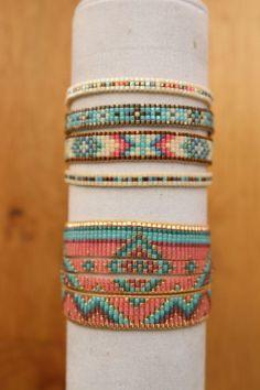 Cuff in beads miyuki by Lapetitemarseillaise on Etsy Loom Bracelet Patterns, Seed Bead Patterns, Bead Loom Bracelets, Jewelry Patterns, Bracelets For Men, Beading Patterns, Bracelet Men, Bead Jewellery, Seed Bead Jewelry