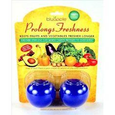 Bluapple Ethlylene Gas Absorbers - Starter Pack of 2 - Refrigerator Fruit & Vegetable Preserver - Keep Produce Fresh Longer