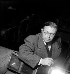 """Boris Lipnitzki      Jean-Paul Sartre, Théâtre Antoine, Paris      1946    """"People who live in society have learned how to see themselves in mirrors as they appear to their friends. I have no friends. Is that why my flesh is so naked?"""" Jean-Paul Sartre, """"Nausea""""  1938"""