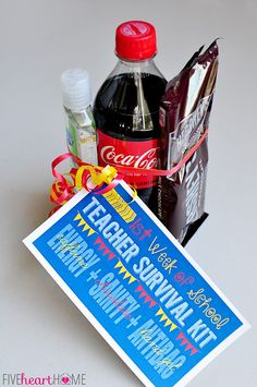 First Week of School Teacher Survival Kit Gift FREE PRINTABLE ~ Energy (caffeine) + Sanity (chocolate) + Antibacterial Hand Gel | {Five Heart Home}