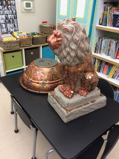 The Kindergarten Lion Water Fountain Statue. Ready to be assembled at the Auction. It was a great Auction item and raised a lot of money for our school!