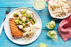 Sun Basket: Salmon with tomatillo-avocado salsa and jicama