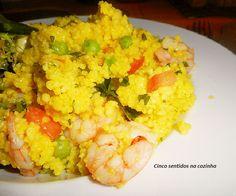Cinco sentidos na cozinha: Couscous com camarão, ervilhas e açafrão das índia...