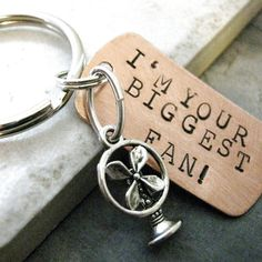 I'm Your Biggest Fan Key Chain with silver fan charm by riskybeads
