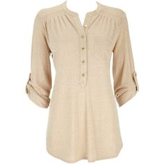 Gold Lurex Shirt (€41) ❤ liked on Polyvore featuring tops, blouses, shirts, blusas, gold, 3/4 sleeve shirts, pink shirt, collared blouse, gold metallic top and button front shirt