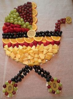 Baby carriage fruit  disply - perfect for baby shower!  - Distinctive Creations