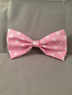 Pink polka dot bow clip bow clip bow for girls by KerrynsCrafts