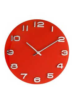 Glass Wall Clock - Red | very.co.uk