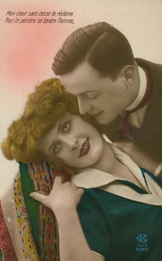 1920s Art Deco French Lovers Postcard