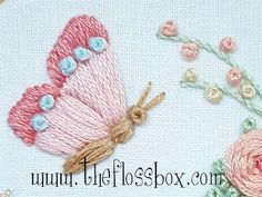 The Floss Box: More Butterfly Florals Embroidery Tools, Basic Embroidery Stitches, Embroidery Flowers Pattern, Butterfly Embroidery, Simple Embroidery, Silk Ribbon Embroidery, Hand Embroidery Designs, Embroidery Techniques, Embroidery Applique