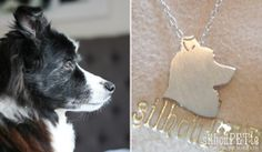 Custom pet silhouette jewelry by silhouPETte. Great gift for mother's day, birthdays, and memorial keepsakes for the dog-loving-lady in your life! www.silhouPETte.com