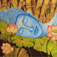 Sleeping Budha in acrylic Budha Painting, Buddha Drawing, Photo Transfer, Diy Canvas Art, Bullets, Asian Style, House Painting, Landscape Paintings, Temple