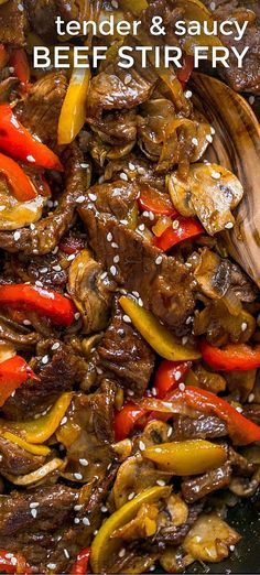 Beef Stir Fry Recipe with 3 Ingredient Sauce - NatashasKitch.- Tender Beef Stir Fry with a sauce that makes this taste like grilled Asian BBQ beef. So saucy and delicious. Go-to beef stir fry recipe! Wok Recipes, Stir Fry Recipes, Asian Recipes, Healthy Recipes, Ethnic Recipes, Beef Recepies, Dinner Recipes, Easy Beef Stir Fry, Steak Stir Fry