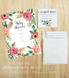Free printable baby shower invitations and library card inserts for a storybook theme baby shower.