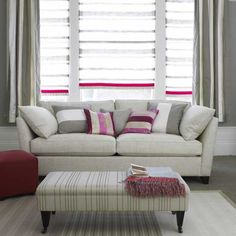 Grey and pink striped living room | Living room furniture | Decorating ideas | housetohome.co.uk