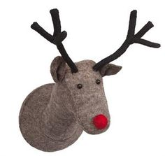 A felt reindeer head plush wall decor with a red nose. Scandi Christmas, Christmas Tunes, Christmas Ornaments, Scandi Chic, Scandi Style, Fiona Walker, Reindeer Head, Animal Heads, Felt Animals