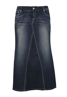 Dark Wash Long Denim Skirt available at #Maurices