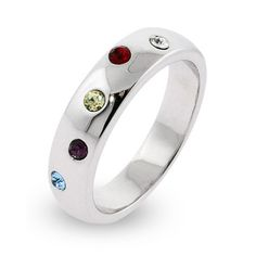 This alluring Five Stone Austrian Crystal custom Birthstone Twinkling Ring is a wonderful way to add some difference to a gift. Your choice of 5 birthstones scatter neatly around the Birthstone Twinkling Ring.