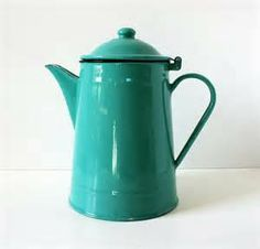 Vintage Turquoise Enamelware Coffee Pot | Collectables