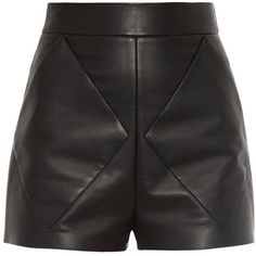 Balenciaga Diamond seam-bonded leather shorts ($1,875) ❤ liked on Polyvore featuring shorts, bottoms, short, pants, balenciaga, leather short shorts, highwaisted shorts, high rise shorts and black shorts