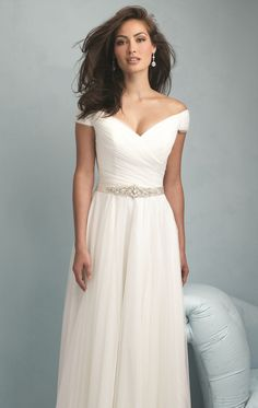 Shirred Off Shoulder Gown by Allure Bridals 9211 Wedding Dress Trends, New Wedding Dresses, Wedding Ideas, Wedding 2017, Wedding Blog, Prom Dresses, Bridal Skirts, Bridal Gowns, Full Gown