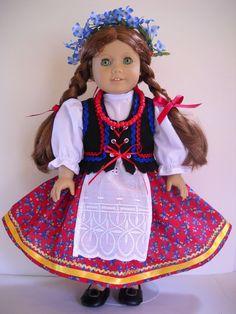 "Fits 18"" American Girl doll Poland Polish folk dress clothes Q (COSTUME ONLY)"
