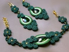 Original earrings and bracelet made of soutache, instantly attract attention:) Combination - tone of green.    Im making jewelry custom to order any model and colours.