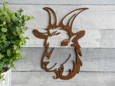 Rusty Goat Head Decor / Goat Garden Gift / Rusty Metal Goat Wall Decor an unusual Farmyard Gift - Metal Art Metal Garden Art, Metal Art, Hand Painted Chairs, Goat Gifts, Goat Art, Horse Gifts, Rusty Metal, Wire Crafts, Farm Yard