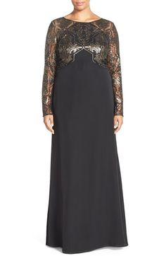 Tadashi Shoji Sequin Embroidered Crepe Gown with Train (Plus Size)