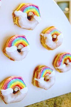 Rainbow Donuts from a Cloud Nine Sleepover on Kara's Party Ideas   KarasPartyIdeas.com (14)