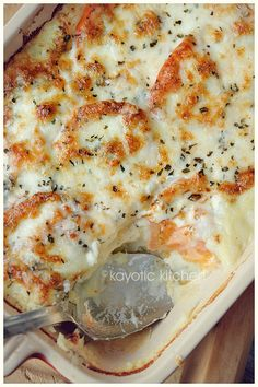 Mozzarella and Potato Pie....layered mashed potatoes, mozzarella, tomatoes, Italilan herbs, more mozarella, and parmesan