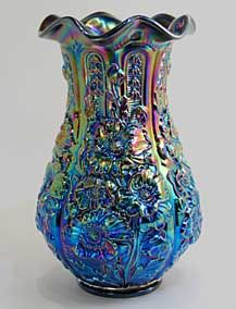 Fenton's  Black Amethyst Poppyshow vase made for Singleton Bailey. Contemporary Carnival Glass.