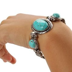 turquoise and silver bracelet cabochon beautiful