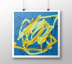 "Art+print+""Blue+green+ocre+and+black""+by+eliso+ignacio+silva+simancas"