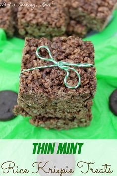Thin Mint Rice Krispie Treats - Whats Cooking Love?