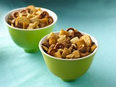 Original Chex® Party Mix ... I make this and go NUTS (pardon the pun) adding extras to this such as:  cashews, pecans, cheez-it crackers (or goldfish crackers would work), sesame sticks (bought at local Spartan store), broken up nacho Doritos and anything else that looks good that I can think of (I usually omit the bagel chips cuz they are too hard on my teeth ... lol