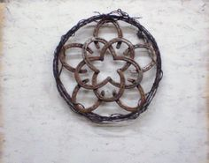 Rustic Barbed Wire HORSESHOE STAR WREATH, Christmas Rustic Decor, Cowgirl…
