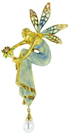 Plique-a-Jour Enamel Fairy Pendant/Pin, Estate 18 karat yellow gold, Plique a Jour, enamel, diamond and pearl pendant with pin option depicting an intricately designed fairy and stamped with the makers mark for Masriera. Spain 20th-21st century.
