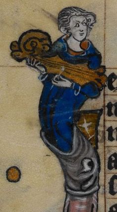 Citole, the head curled up and happy. Detail from medieval manuscript The Book of Hours, British Library Stowe MS 17 'The Maastricht Hours', f219v