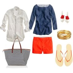 Red shorts + blue and white tops. Striped beach bag.